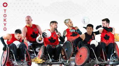 L'équipe canadienne de rugby en fauteuil roulant des Jeux paralympiques de Tokyo 2020 comprendra 12 joueurs, y compris (de droite à gauche) : Patrice Dagenais, Zak Madell, Mike Whitehead, Trevor Hirschfield, Travis Murao, and Cody Caldwell. PHOTO : Comité paralympique canadien (Groupe CNW/Canadian Paralympic Committee (Sponsorships))