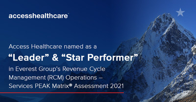"""Access Healthcare has been named a """"Leader"""" and """"Star Performer"""" in Everest Group's Revenue Cycle Management (RCM) Operations - Services PEAK Matrix® Assessment 2021."""