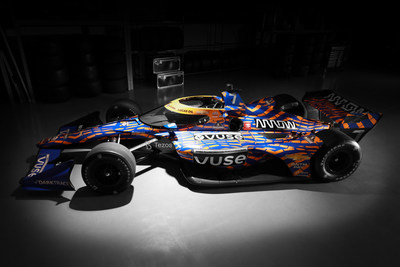 The No. 7 Vuse Arrow McLaren SP car featuring the winning design from the Vuse Design Challenge.