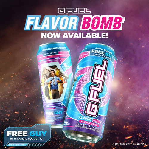 G FUEL Flavor Bomb was created in celebration of the upcoming film Free Guy, starring Ryan Reynolds, only in theaters August 13, 2021. Sip a G FUEL Flavor Bomb, and you'll be blown away by an explosion of cotton candy, watermelon, and vanilla. The new G FUEL flavor is now available in convenient 16 oz cans for U.S. fans to buy at gfuel.com and will be sold in select stores in the U.S.