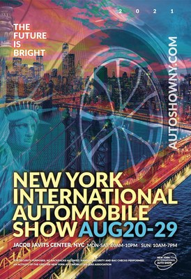 Celebrating the automobile, New York City, and the colors of summer, the 2021 New York Auto Show poster artwork points to brighter times ahead.