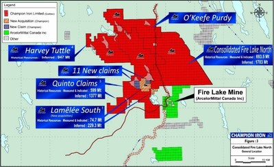 """Map: Acquisition of Exploration Property from Fancamp Exploration Ltd. (""""Fancamp"""") (CNW Group/Champion Iron Limited)"""