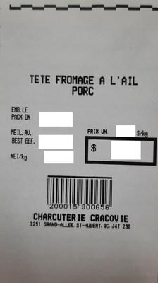 Tête fromagée à l'ail porc (Groupe CNW/Ministère de l'Agriculture, des Pêcheries et de l'Alimentation)