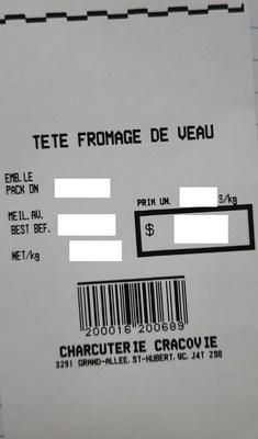 Tête fromagée de veau (Groupe CNW/Ministère de l'Agriculture, des Pêcheries et de l'Alimentation)