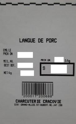 Langue de porc (Groupe CNW/Ministère de l'Agriculture, des Pêcheries et de l'Alimentation)