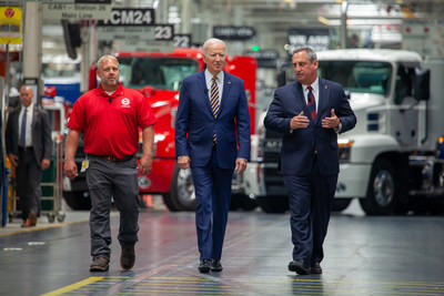 Mack Trucks today hosted President Joe Biden at its Lehigh Valley Operations (LVO) facility in Macungie, Pennsylvania, where all Mack heavy-duty models for North America and export are assembled. Biden stressed the importance of American manufacturing, buying American products and good-paying jobs during remarks made at the facility. Left to Right, UAW Local 677 Shop Chairman Kevin Fronheiser, President Joe Biden and Martin Weissburg, Mack Trucks president, at Mack's LVO facility.