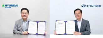 """现代汽车集团燃料电池中心代表金世勋(右)和现代电气社长赵锡(音译)签署了""""谅解备忘录""""。"""