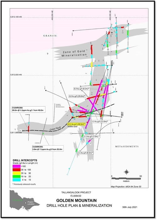 Tallangalook Project EL006430 - Golden Mountain Drill Hole Plan & Mineralization (CNW Group/Fosterville South Exploration Ltd.)