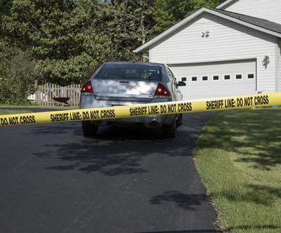 Crime scene at a suburban home