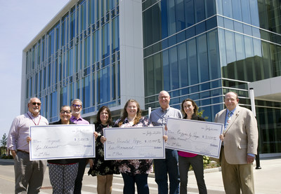 Rosalind Franklin University inaugural Biotech Business Plan Competition awardees gathered with event sponsors outside RFU's Innovation and Research Park. Front row, from left: Robin McWherter, CMRT, Co-Founder, Targacell; Tammy Dorsey, MS, Founder & CEO, Prenatal Hope; Amanda Schalk, PhD, Co-Founder & COO, Enzyme by Design. Second row, from left:  Michael Rosen, MBA, Managing Director, IRP and Helix 51 incubator; Tom Denison, Founder and Chief Relationship Officer, SmartHealth Catalyzer; Connie Cleary, DPM, RFU Director, Innovation and Industry Relations; Steven Kuemmerle PhD, EVP for Operations, Inspirotec, Inc.; and Ronald Kaplan, PhD, RFU Executive Vice President for Research.