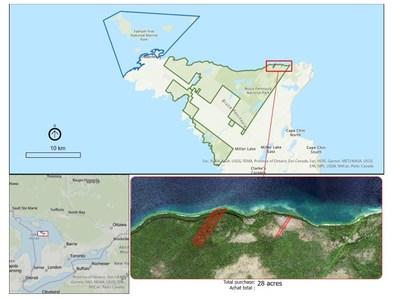 Emplacement des propriétés riveraines dont le parc national de la Péninsule-Bruce a fait l'acquisition en 2021. (Groupe CNW/Parcs Canada)