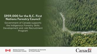 'B.C.为959,000美元。第一环林业委员会:加拿大政府支持土着林业技能发展和工作招聘计划。(beplay数据中心CNW集团/西方经济多样化加拿大)