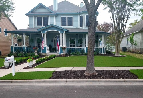 Artificial grass installation in Austin, Texas by Southern Turf Co.