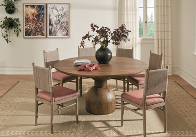 Ballard's Wren Dining Table is a single, sculptural piece of hurricane-felled wood, handcrafted of rich-textured hardwood and creates a clean-lined, modern rustic dining room focal point.