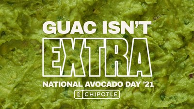 To redeem free guac on the most extra day of the year, guests in the U.S. and Canada can simply use code AVO2021 at digital checkout with an entrée purchase via the Chipotle app or Chipotle websites on July 31. (PRNewsfoto/Chipotle Mexican Grill, Inc.)