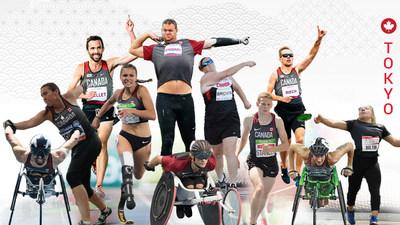Seize athlètes représenteront l'équipe canadienne de para-athlétisme pour les Jeux paralympiques de Tokyo 2020, y compris (de droite à gauche) : Brent Lakatos, Renee Foessel, Guillaume Ouellet, Marissa Papaconstantinou, Greg Stewart, Austin Smeenk, Jennifer Brown, Liam Stanley, Nate Riech, Jessica Frotten, et Charlotte Bolton. (Groupe CNW/Canadian Paralympic Committee (Sponsorships))