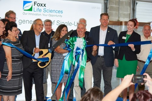 Ceremonial ribbon cutting of Foxx Life Sciences new headquarters in Londonderry, NH. Includes CEO & President Thomas Taylor and Governor Sununu.