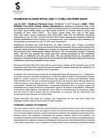 ShaMaran Closes Initial USD 111.5 Million Bond Issue
