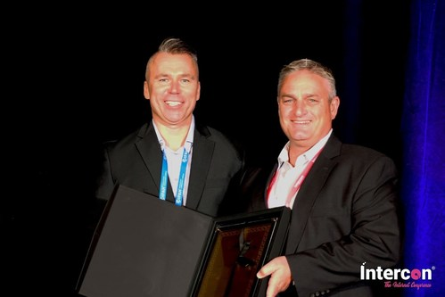 Russ Leimer, co-founder and CEO of CitizenPath, accepts award at Intercon