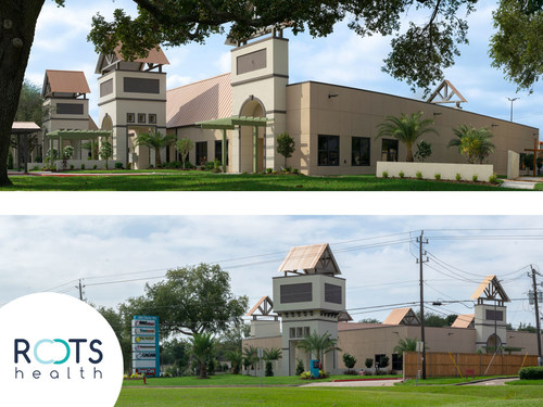 Roots Health building offers Family Practice, Pediatrics, OB/GYN, Nutrition, Dental Care, Pharmacy, and Medical Laboratory Services.