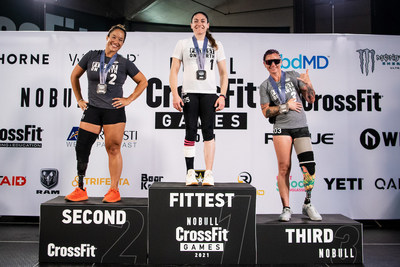 The top finishers in the inaugural Women's Lower Extremity Division of the CrossFit Games: Valerie Cohen (#1), Natalie Bieule (#2), and Sarah Rudder (#3)