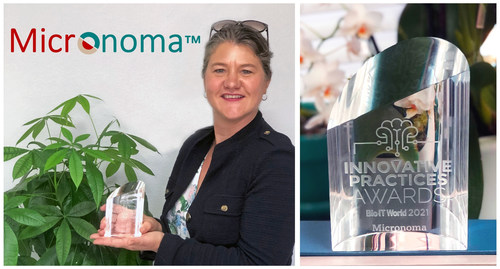 Sandrine Miller-Montgomery, the CEO of Micronoma, holds the Bio-IT World Innovative Practices Award, granted in July 2021.