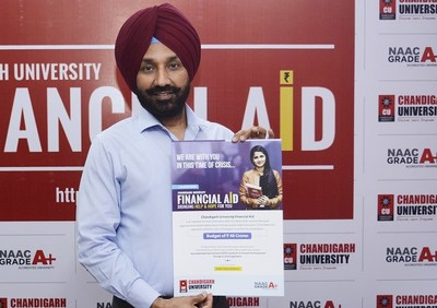 Chancellor Chandigarh University, Satnam Singh Sandhu launching the Financial Aid Program for the meritorious and economical weaker students