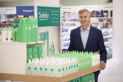Joe Hartsig, EVP and Chief Merchandising Officer at Bed Bath & Beyond and President of Harmon Stores, Inc., with a display of Safely products at Bed Bath & Beyond's flagship store in the Chelsea neighborhood of New York City.