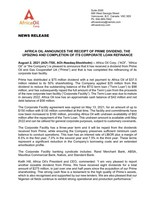 Africa Oil Announces the Receipt of Prime Dividend, the Upsizing and Completion of its Corporate Loan Refinance