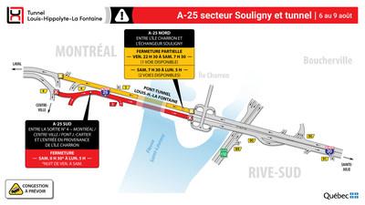 Fermetures de l'autoroute 25 et du tunnel Louis-Hippolyte-La Fontaine (Groupe CNW/Ministère des Transports)