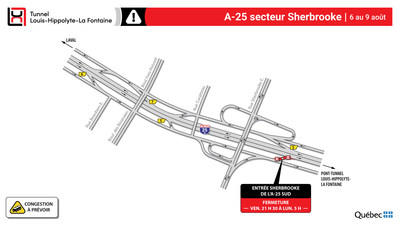 Fermeture de l'accès Sherbrooke (Groupe CNW/Ministère des Transports)