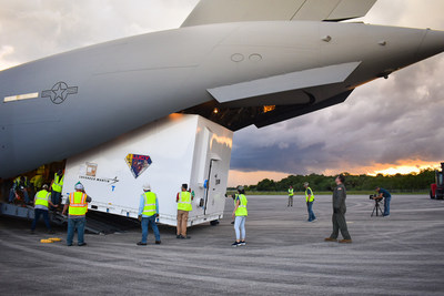 Lucy lands at Kennedy Space Center, Florida, July 30. It then headed out on a truck to its final destination in nearby Titusville, Astrotech Space Operations, to begin launch processing. Credit: Lockheed Martin.