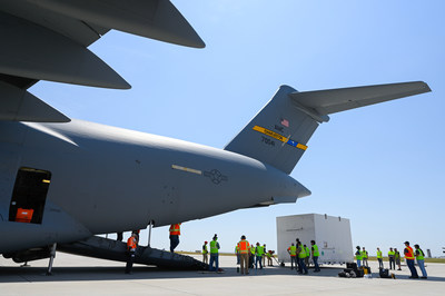 The Lucy spacecraft is loaded onto its transport aircraft at Buckley Space Force Base in Aurora, Colorado. Credit: Lockheed Martin.