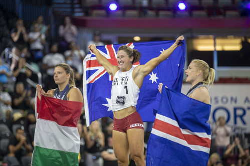 """Tia Toomey celebrates her fifth consecutive title of """"Fittest on Earth"""""""