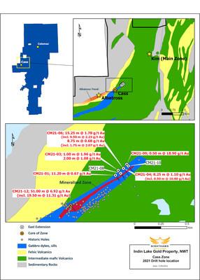 Figure 1 - Cass Zone Drilling - Plan View (TSX: NHK; OTCQX: MIMZF) (CNW Group/Nighthawk Gold Corp.)