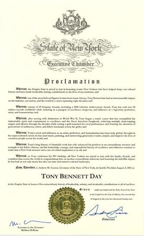 Tony Bennett Day Proclamation 2021