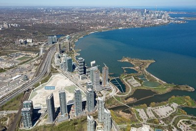 2150 Lake Shore Boulevard West – Site aerial facing east towards downtown Toronto (CNW Group/First Capital Real Estate Investment Trust)
