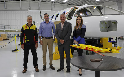 Left to right: Geoff Kehr, SVP Global Aviation Fleet Management, Global Aviation (DHL Express Global Head Office); Omer Bar-Yohay, CEO of Eviation Aircraft; Robert Hyslop, Senior Vice President, DHL Aviation; Jessica Pruss – Head of Sales, General Aviation and Business Aviation, Eviation Aircraft
