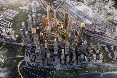 2150 Lake Shore Boulevard West – Aerial rendering of the completed project, facing north. Source: Allies and Morrison.  Note: Rendering is for illustrative purposes. Elements of the completed project may differ. (CNW Group/First Capital Real Estate Investment Trust)