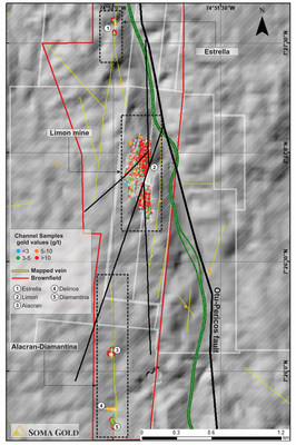 Map #1. Plan view of Estrella-Diamantina mineralized trend. (CNW Group/Soma Gold Corp.)