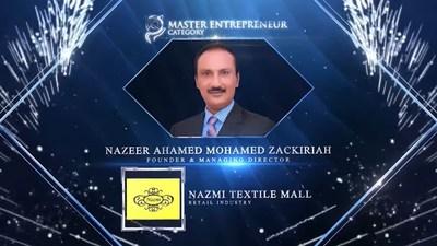 Nazeer Ahmed Mohamed Zakariah, Founder and Managing Director of Nazmi Textile Mall honoured for Master Entrepreneur Award at the Asia Pacific Enterprise Awards 2021 Regional Edition