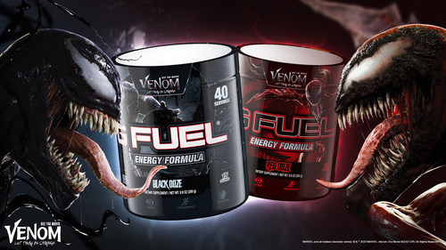 Sink your teeth into two new action-packed G FUEL flavors that are inspired by Sony Pictures' upcoming highly anticipated sequel Venom: Let There Be Carnage. G FUEL Black Ooze, is inspired by our favorite lethal protector, Venom, and has a sweet and refreshing black cherry taste. Meanwhile, the chaos of the Carnage-inspired G FUEL Red Ooze has a sour black cherry taste. Pre-order your limited-edition G FUEL Black Ooze and Red Ooze at gfuel.com through August 6th while symbiotes last.