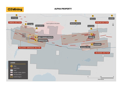 Figure 1: Alpha Project Drilling Map (CNW Group/O3 Mining Inc.)