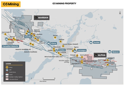 Figure 5: Marban and Alpha Properties Overview (CNW Group/O3 Mining Inc.)
