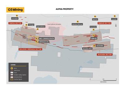 Figure 1: Carte de la propriété Alpha (Groupe CNW/O3 Mining Inc.)
