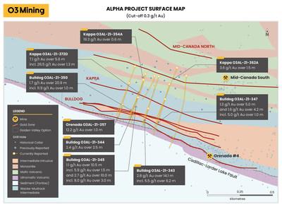 Figure 3: Carte de surface de la propriété Alpha (seuil de coupure de 0,3 g/t Au et au-dessus de 200 mètres verticaux) (Groupe CNW/O3 Mining Inc.)