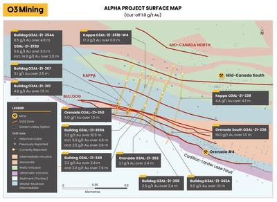 Figure 4: Carte de surface de la propriété Alpha (seuil de coupure de 1,0 g/t Au et sous200 mètres verticaux) (Groupe CNW/O3 Mining Inc.)