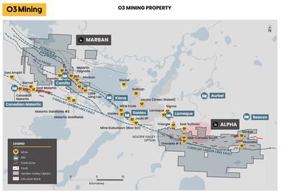Figure 5: Aperçu des propriétés Marban et Alpha (Groupe CNW/O3 Mining Inc.)