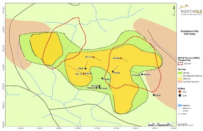 Figure 1: Pemberton Hills Plan Map with Drill Holes and Surface Alteration (CNW Group/NorthIsle Copper and Gold Inc.)