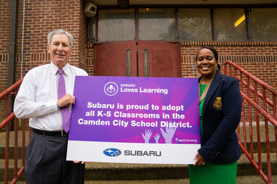 As part of Subaru Loves Learning, Subaru of America has adopted all K-5 classrooms in the Camden City School District and will provide school supplies and resources to enhance learning in the community. Left to right: Tom Doll, President and CEO of Subaru of America, Inc., and Katrina McCombs, Superintendent of the Camden City School District.